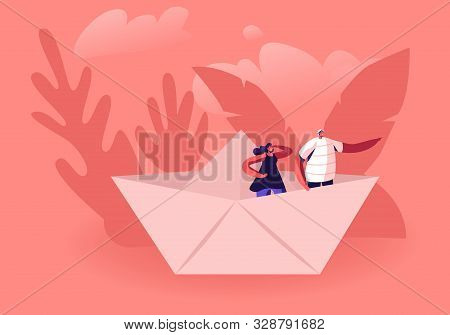 Young Happy Couple Stand In Paper Ship, Woman Looking Forward Man Pointing Way With Hand. Tiny Male