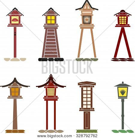 Set Of Traditional Japanese Lanterns Made Of Wood