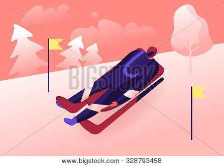 Luger In Sportswear And Helmet Lying On Sleigh Face Up Going Downhills With High Speed Between Yello