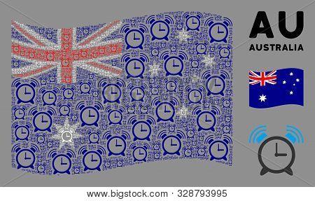 Waving Australia Flag. Vector Buzzer Design Elements Are Combined Into Conceptual Australia Flag Col