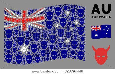 Waving Australia Flag. Vector Daemon Head Icons Are Scattered Into Mosaic Australia Flag Composition