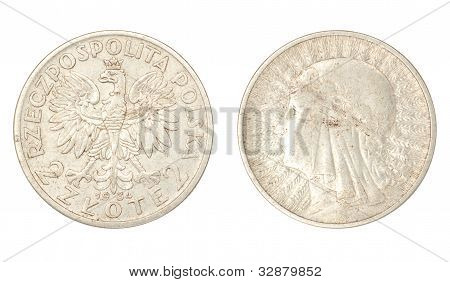 Polish ancient silver coin (queen Yadviga, 2 zlote, 1934) poster