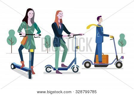 People Riding Electric Scooters. Eco Green Transport. Easy To Edit And Customize. Vector Illustratio