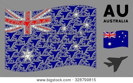 Waving Australia Official Flag. Vector Airplane Intercepter Design Elements Are Arranged Into Mosaic