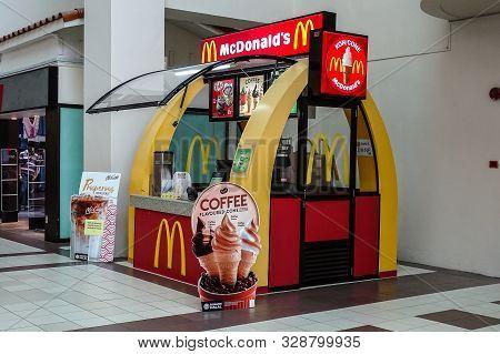 Kota Kinabalu,sabah,malaysia-june 1,2019:mcdonalds Ice Spot,ice Cream And Coffee Kiosk Inside Of Sho