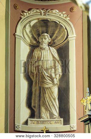 IVANIC GRAD, CROATIA - SEPTEMBER 25, 2011: Saint Bartholomew the Apostle, fresco in the church of the Saint Peter in Ivanic Grad, Croatia