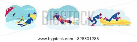 Set Of Skikiting Snowboardkiting Bobsleigh And Ski Slalom Sports Activities. Sportsmen Riding Skis A