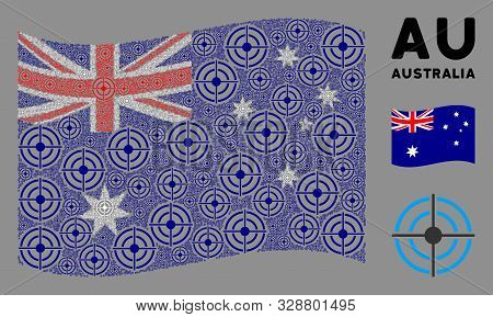 Waving Australia State Flag. Vector Target Bullseye Items Are Placed Into Geometric Australia Flag I