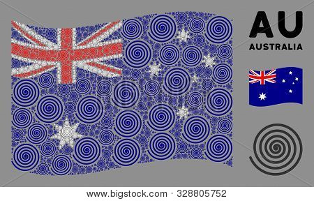 Waving Australia State Flag. Vector Hypnosis Design Elements Are Combined Into Conceptual Australia