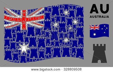 Waving Australia State Flag. Vector Bulwark Tower Design Elements Are Scattered Into Conceptual Aust