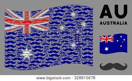 Waving Australia Flag. Vector Gentleman Moustache Pictograms Are Combined Into Mosaic Australia Flag