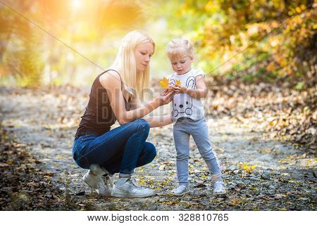 Mother And Her Daugther In Autumn At Park - Family