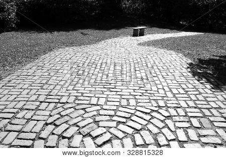 Black And White Cobblestone Pathway At Snug Harbor New York