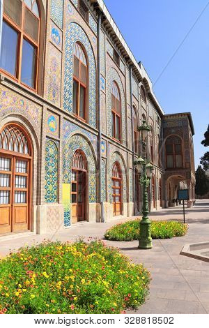 Facade of Golestan Palace (Marble Palace, Palace of Roses), royal Qajar complex inTehran, Iran. UNESCO world heritage site