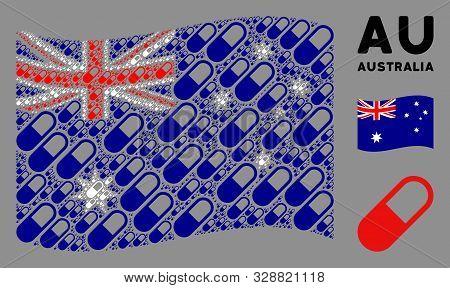 Waving Australia State Flag. Vector Medication Granule Design Elements Are United Into Geometric Aus