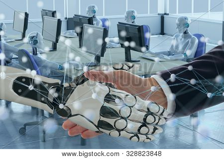 Deep Machine Learning With Artificial Intelligence Technology With Neural Network Concept, Hand Man
