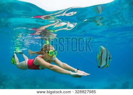 Happy Family - Active Woman In Snorkeling Mask Dive Underwater, See Tropical Fishes In Coral Reef Se