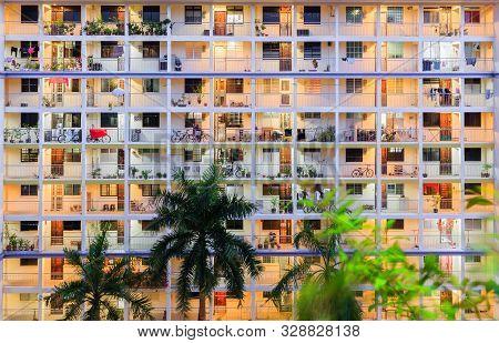 Singapore-11 Jun 2018:singapore High Density Residential Building Hdb Facade Night View