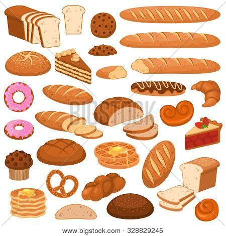 Cartoon Bread And Cakes. Bakery Wheat Products, Rye Breads. Baguette, Pretzel And Ciabatta, Croissan