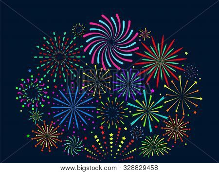 Festive Fireworks. Festive Christmas Salute, New Year Pyrotechnic Explosions With Sparks. Xmas Firec