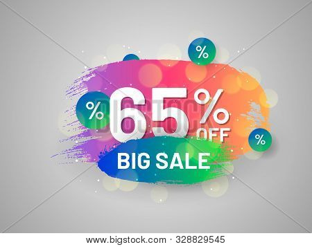 Big Sale Promo Sticker With Paintbrush Strokes. 65 Percent Off Banner. Bright Colorful Gradient Desi