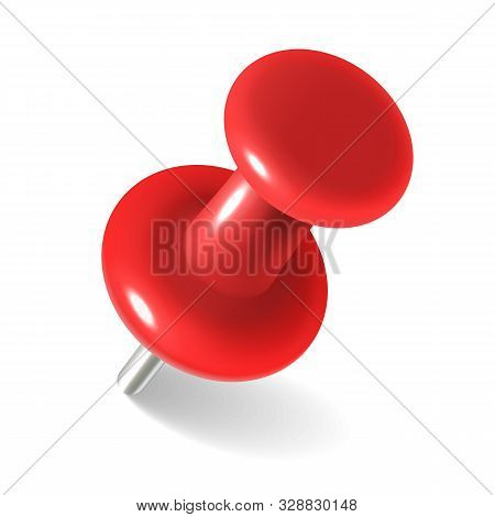 Red Thumbtack. Round Metal Pushpin For Attach Memo And Pinned Documents Isolated Vector Realistic Pl