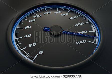 Blue Speedometer In Car On Dashboard. 3d Rendered Illustration.