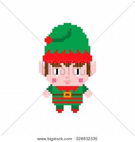 Santa Elf Pixel Art. Funny Christmas 8 Bit. 8 Bit Xmas. Pixelate New Year