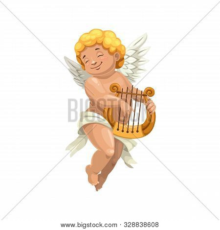 Amur Playing On Harp Isolated Character. Naked Boy In Diaper, Vector Cupid With Musical Instrument