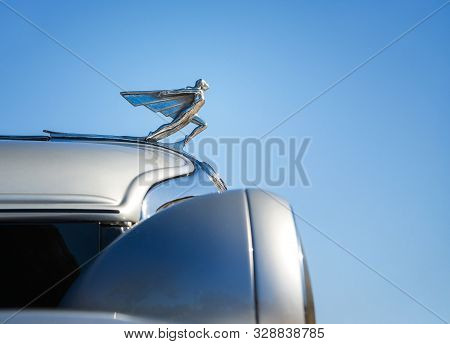Westlake, Texas - October 19, 2019: Hood Ornament Of A 1932 Graham Convertible Coupe Classic Car Aga