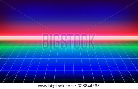 Synthwave Or Retro Wave Background. Futuristic Music Vector Neon Landscape With Grid. Video Game 3d