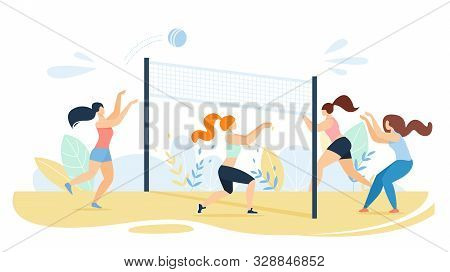 Cartoon Women Team Characters Playing Volleyball On Beach. Sportswomen Kicking Ball Trough Net On Sa
