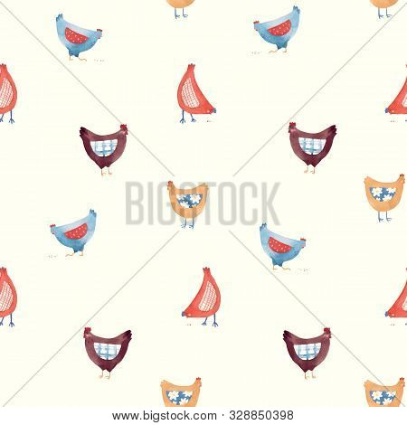 Vector Seamless Pattern With Nice Cute Watercolor Hand Drawn Chicken Hen Bird In Rural Rustic Countr