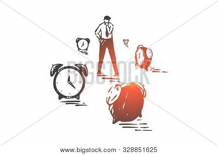 Time Management, Planning And Effectiveness Concept Sketch. Businessman Surrounded By Alarm Clocks,