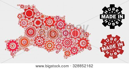Mosaic Gear Hubei Province Map And Textured Stamp. Vector Geographic Abstraction In Red Colors. Mosa