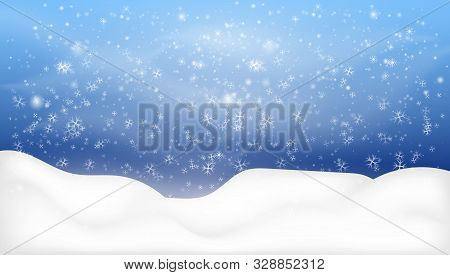 Snowy Landscape Isolated On Dark Background. Snowy Woodland Landscape. Merry Christmas. Winter Backg