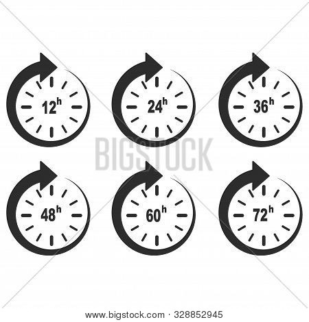 12, 24, 36, 48, 60 And 72 Hours Clock Arrow Design Isolated Illustration