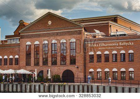 Gdansk, Poland - August 21, 2019: Brick-build Building Of  Fryderyk Chopin Polish Baltic Philharmoni