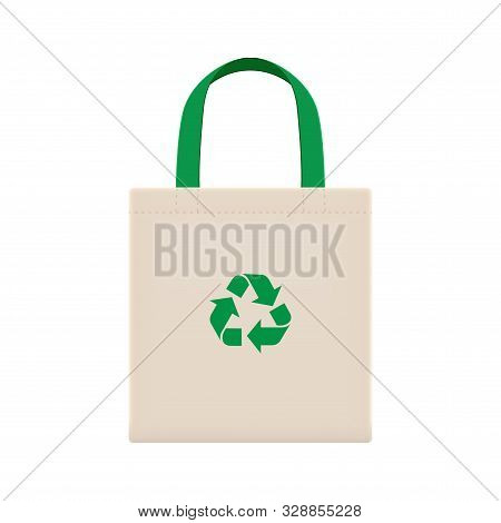 Cloth Eco Bags Blank Or Cotton Yarn Cloth Bags, Empty Bags And Green Recycling Symbol Isolated On Wh