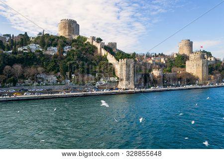 Istanbul, Turkey - January 20 2013: View Of Rumelihisari - Bogazkesen Castle, Rumelian Castle - In A
