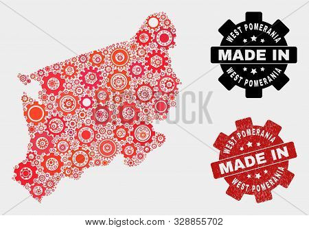 Mosaic Technical West Pomeranian Voivodeship Map And Textured Stamp. Vector Geographic Abstraction I