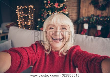 Self-portrait Of Her She Nice Attractive Lovely Cheerful Cheery Glad Gray-haired Granny Spending Fes
