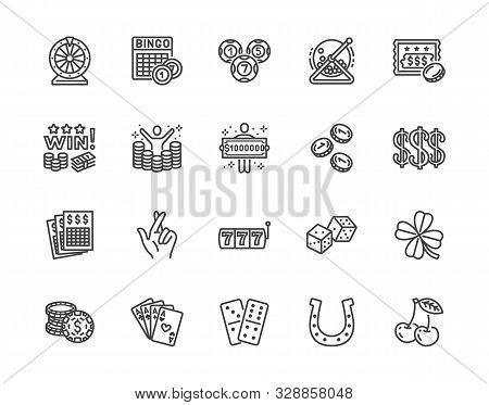 Lottery Winner Flat Line Icons Set. Win Money Gambling, Casino Poker, Bingo, Wheel Of Fortune, Scrat