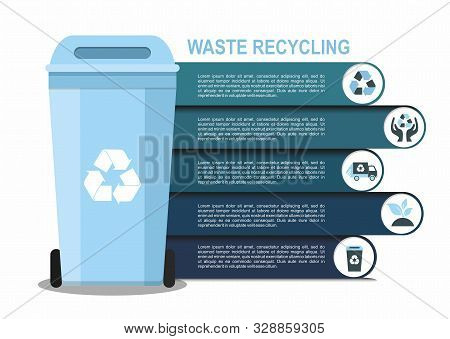 Rubbish Bin For Recycling Different Types Of Waste. Sort Plastic, Organic, E-waste, Glass, Paper. In