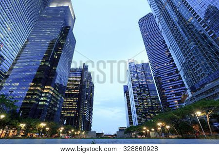 Singapore-30 Apr 2018: Singapore Marina Bay Cbd The Sail Tower Building Low Angle View