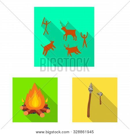 Vector Illustration Of Evolution And Neolithic Icon. Collection Of Evolution And Primeval Vector Ico