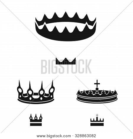 Vector Illustration Of King And Majestic Sign. Set Of King And Gold Vector Icon For Stock.