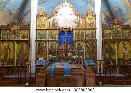 Novyi Svet, Donetsk Region, Ukraine - October 06, 2019 Year. Iconostasis And Painting Of The Interio