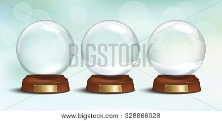 Empty Glass Snow Globe And Snow Globes With Snow On Winter Holiday Background. Vector Christmas And