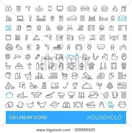 Vector Icons On Furniture, Kitchen, Cleaning, Household Appliances And Equipment. 128 Linear Househo